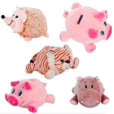 Plush Toy piggy bank with light and sound