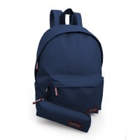Backpack with pencil case navy blue