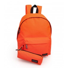 Backpack with pencil case neon Orange