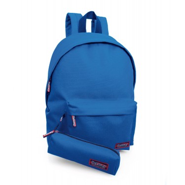 Backpack with pencil case blue