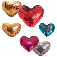 Sequined Heart Cushion 30 cm