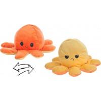 Reversible Octopus Plush Toy 24cm orange-ocher
