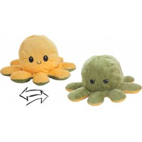 Reversible Octopus Plush Toy 24cm yellow-green