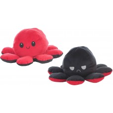 Reversible Octopus Plush Toy 24cm red-black