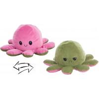 Reversible Octopus Plush Toy 24cm pink-green