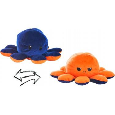 Reversible Octopus Plush Toy 24cm blue-orange