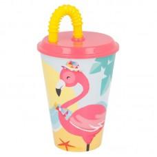 Tumbler with Straw Flamingos